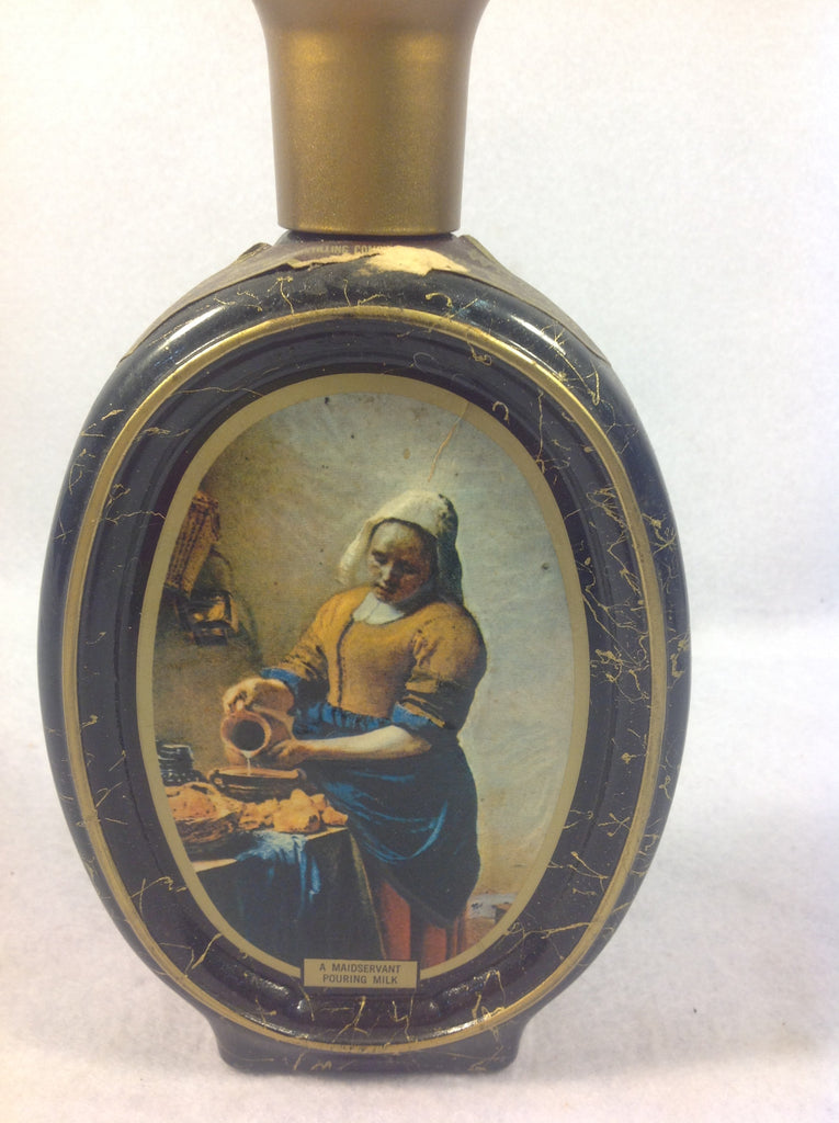 Vintage Black and Gold Glass Jim Beam Decanter Maidservant Pouring Milk