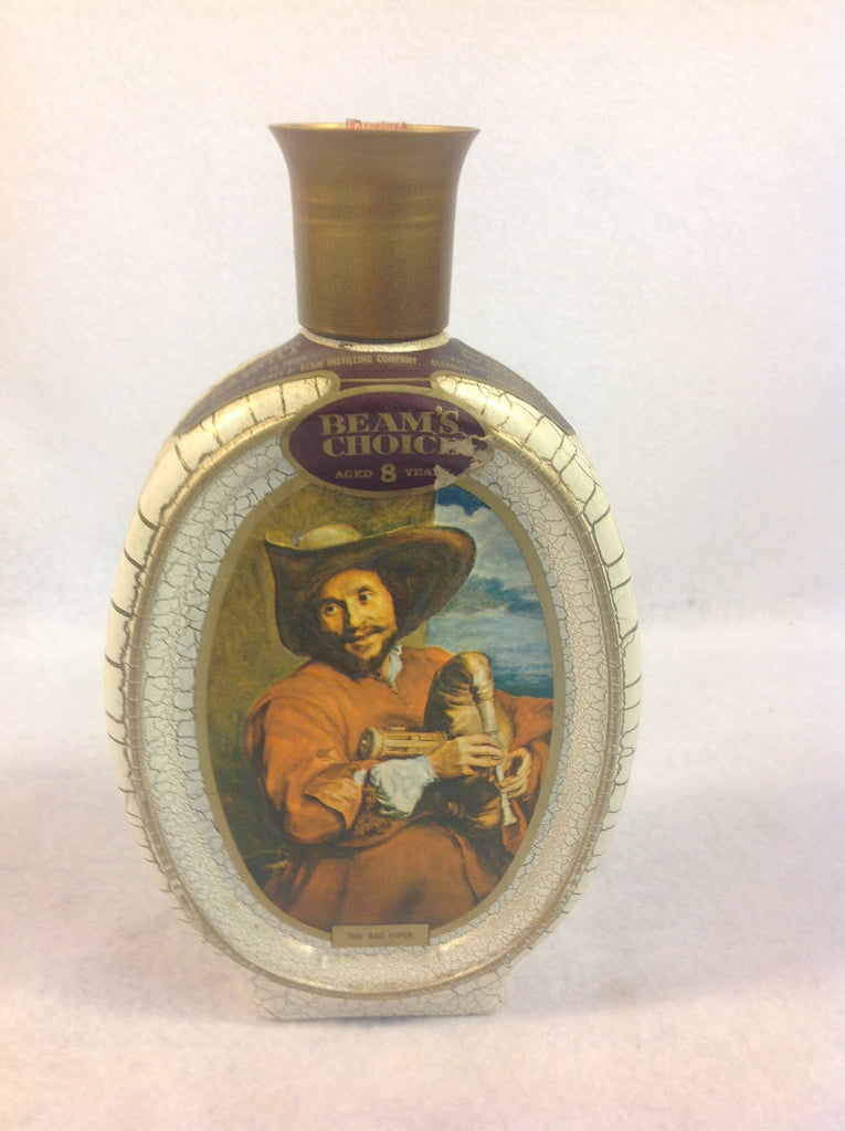 Vintage 1972 Beams Choice Glass Bag Piper Decanter