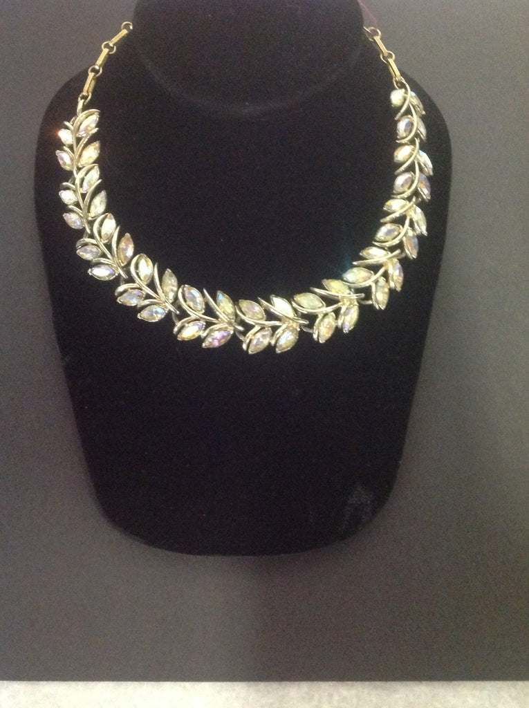 Vintage Coro Gold Tone and Crystal Necklace