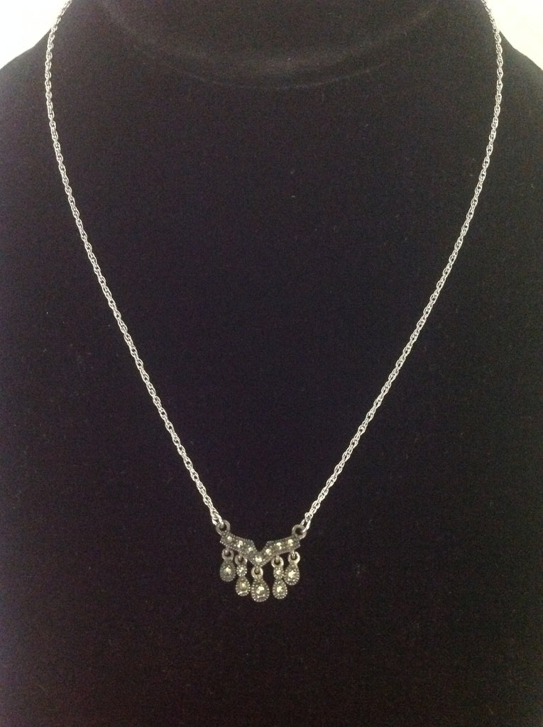 Judith Jack Necklace, Sterling Silver and Marcasite Tear Drop Necklace