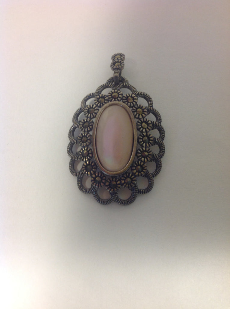 Vintage Sterling Silver Marcasite and Mother of Pearl Pendant