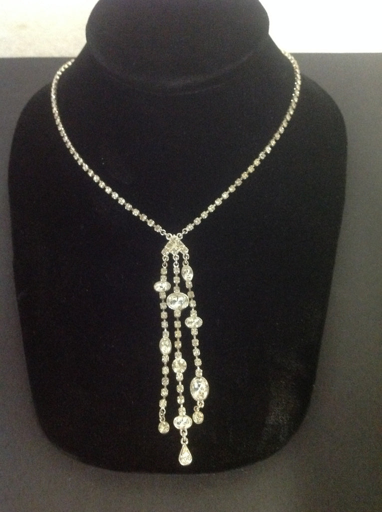 Rhinestone And Silver Tone Metal Necklace w Three Dangling Strands