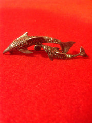 Sterling Silver Marcasite and Black Onyx Double Dolphin Brooch