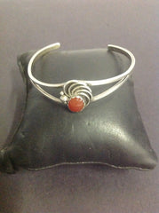 Ladies Sterling Silver and Red Coral Bangle