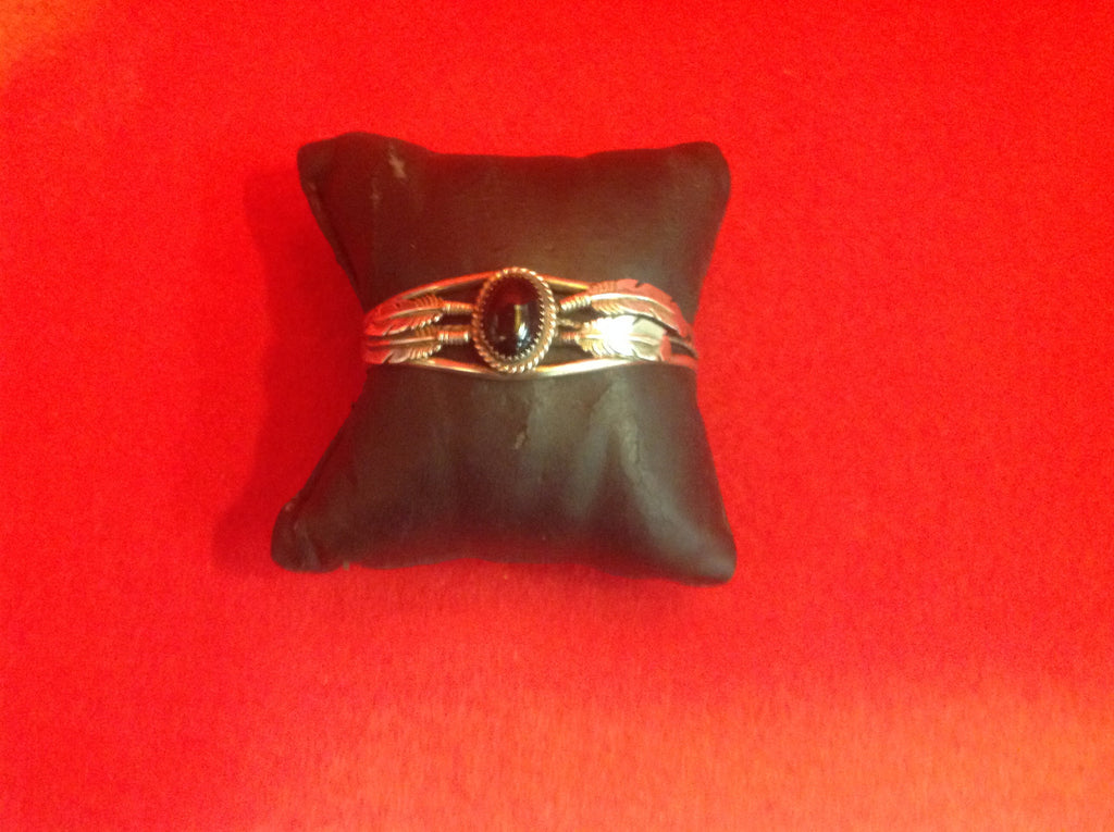 Native American Black Onyx Sterling Silver Cuff Bracelet