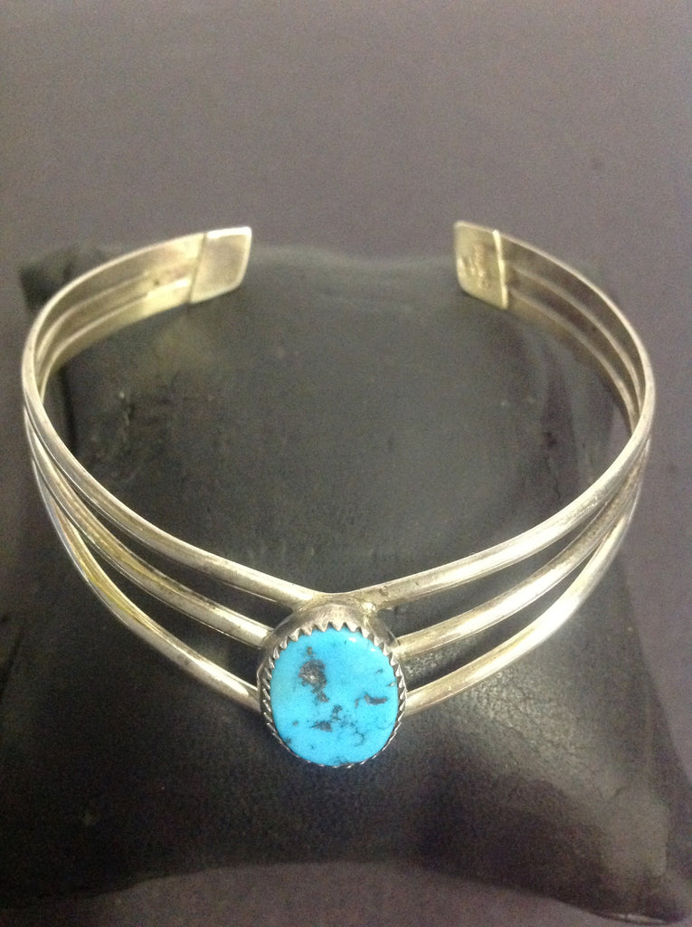 Turquoise & Sterling Silver Native American Indian Bracelet