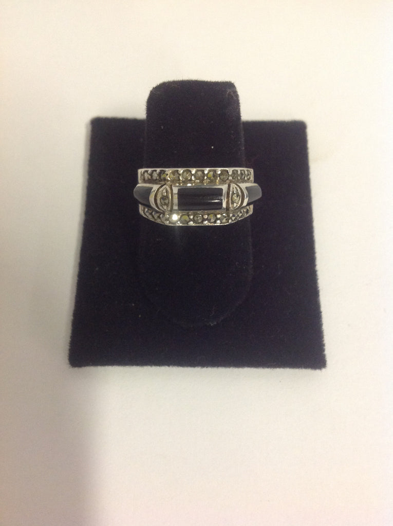 Ladies Vintage Sterling Silver Black Onyx and, Marcasite Ring