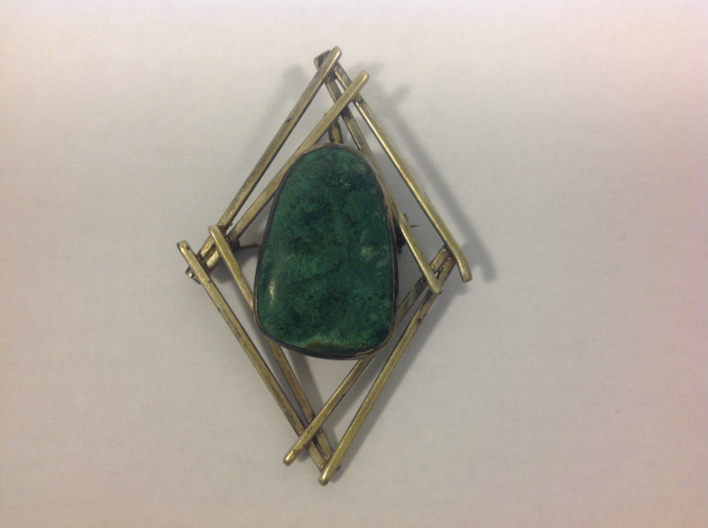 Rare Sterling Silver with Eilat Stone Brooch/Pendant made in Israel