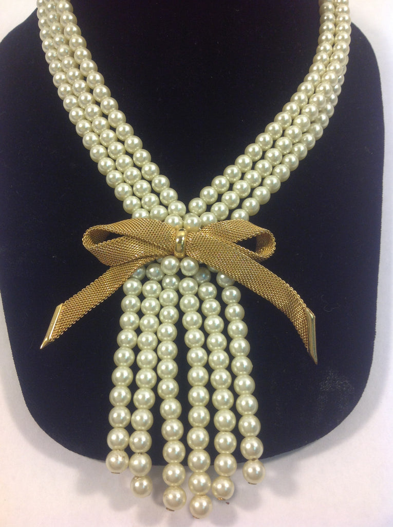 Vintage Napier Triple Strand Faux Pearl Necklace with Gold Tone Bow