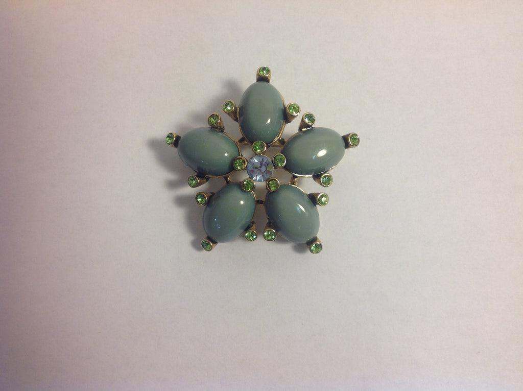 One of a Kind! Vintage Moss Green Floral Shaped Brooch Adorned with Green Stones