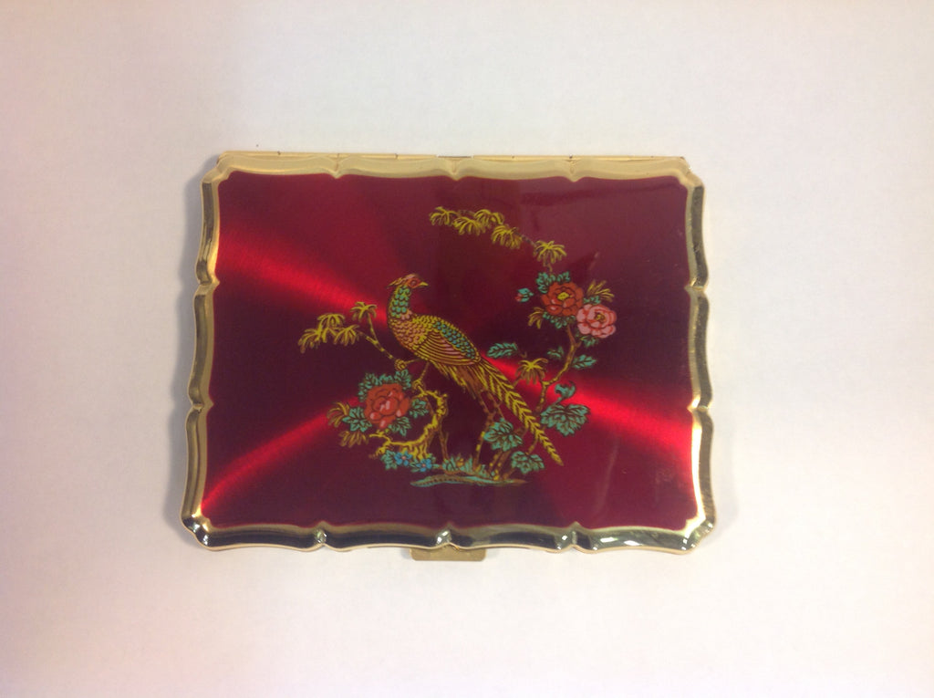 Vintage Ruby Red and Gold Tone Metal Stratton England Cigarette/I.D. Case with Pheasant Bird and Flowers