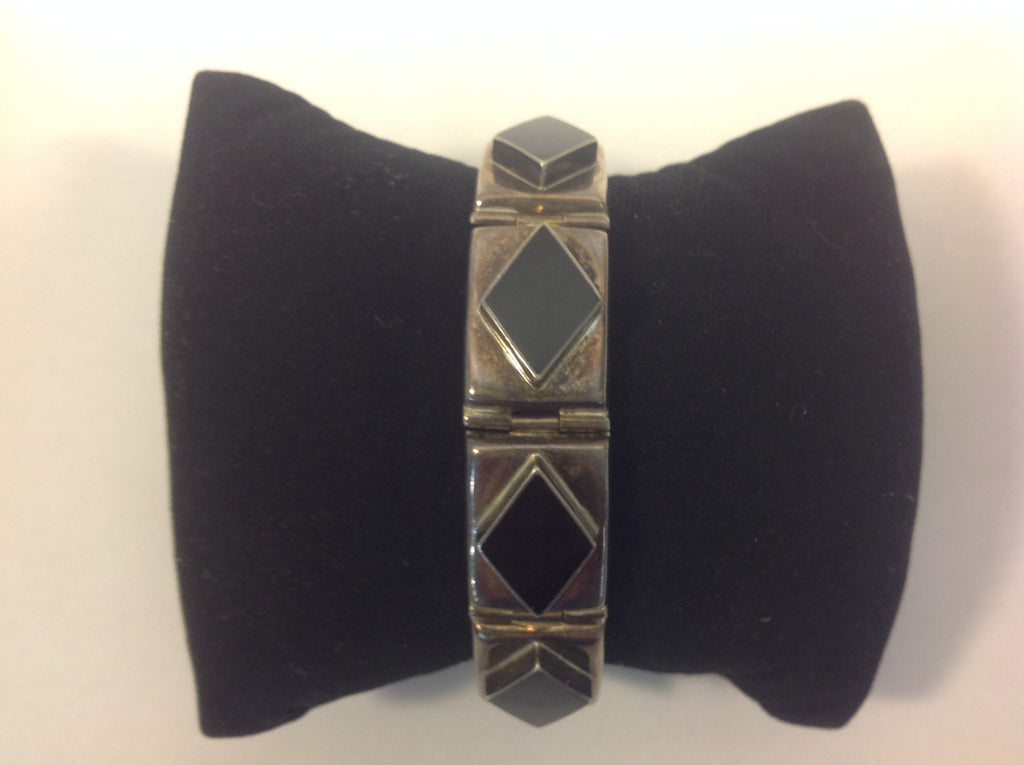 Vintage Sterling Silver and Diamond Shaped Black Onyx Bracelet