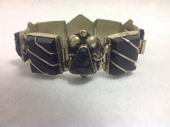Unique Vintage Mexico Sterling Silver and Black Onyx Native American Bracelet