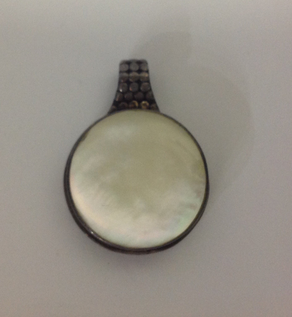 Vintage Sterling Silver and Round Mother of Pearl Pendant