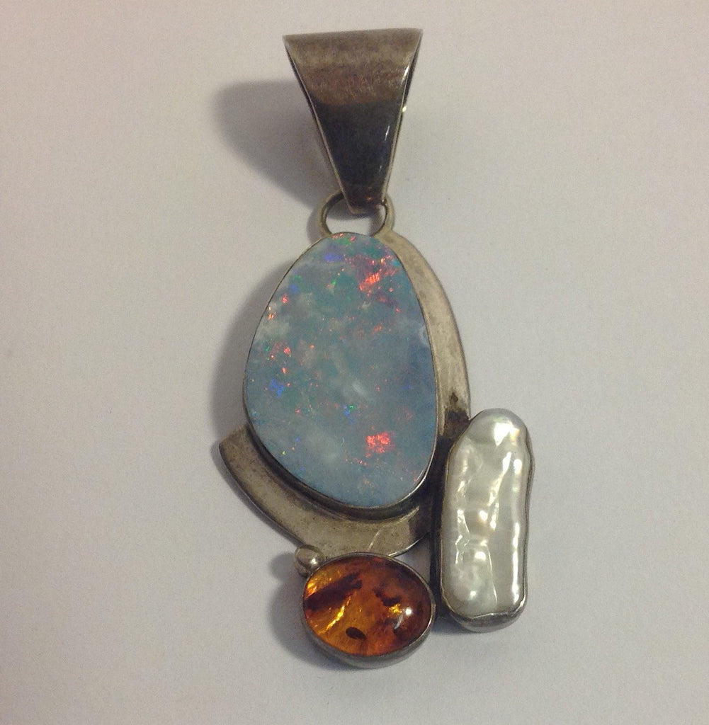 Vintage Sterling Silver, Opal, Amber and Mother of Pearl Pendant by Jay King