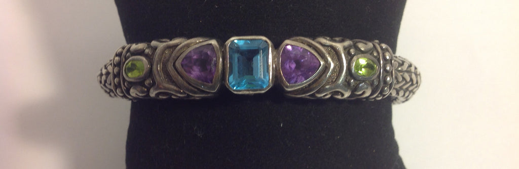 Ladies Sterling Silver Woven Wheat, Blue Topaz, Amethyst and Peridot Bracelet