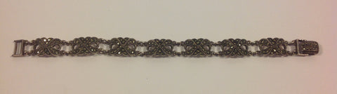 Vintage Ladies Sterling Silver and Marcasite Bow Shaped Bracelet