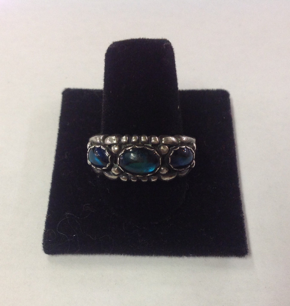 Vintage Sterling Silver and Dark Greenish Blue Stone Ring