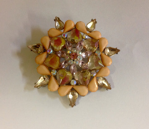 Gold Tone and Peach Stone with Clear Beige Crystal Floral Shaped Brooch
