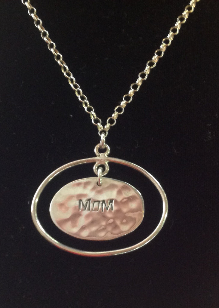 Sterling Silver Mom Pendant and Necklace