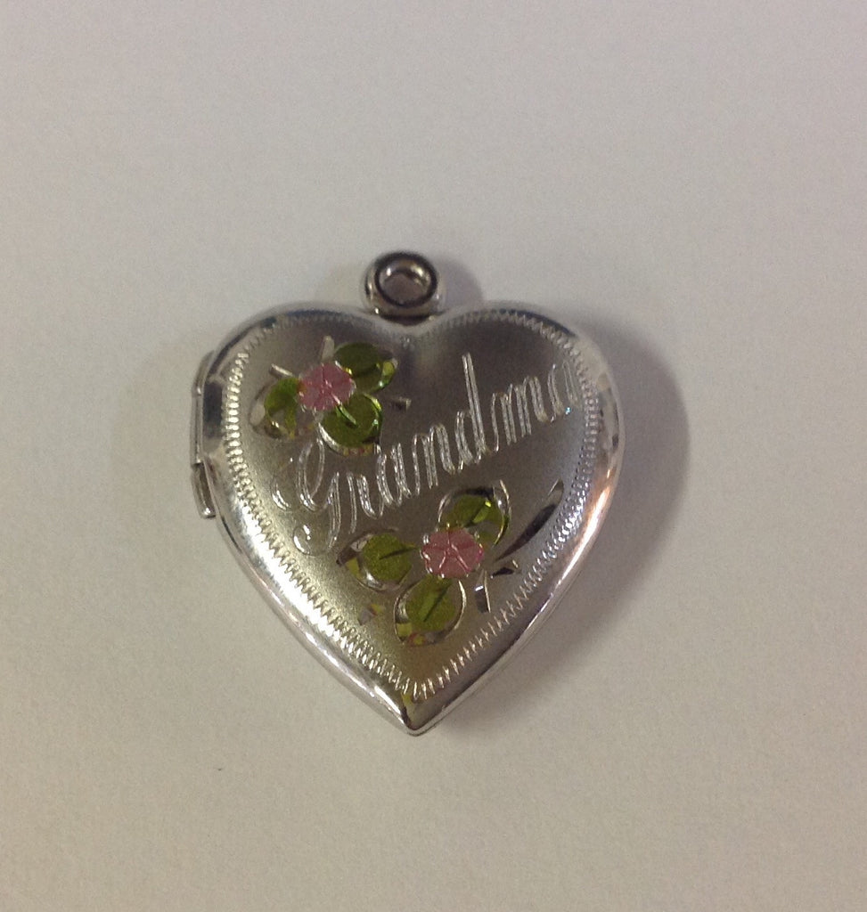 Sterling Silver Grandmother Locket with Pink Flowers