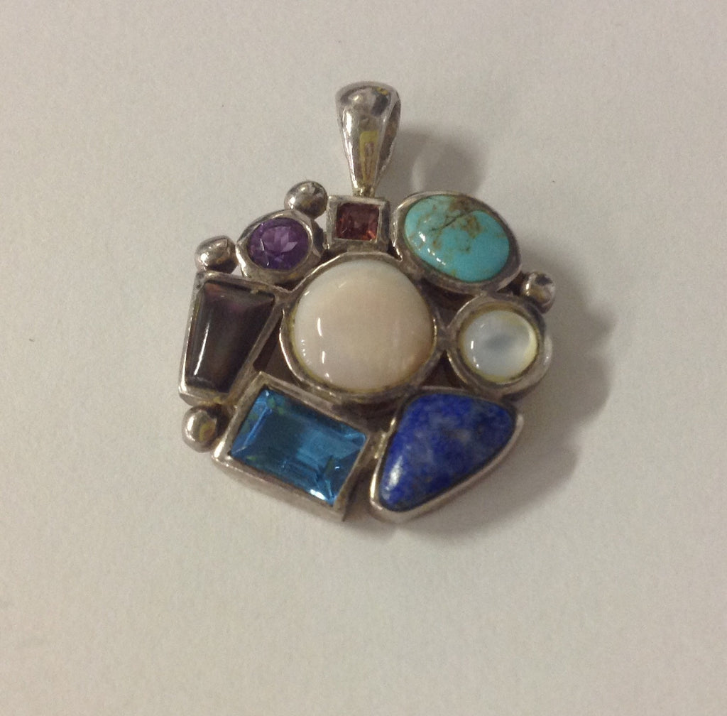 Vintage Sterling Silver Circular Multistone Pendant