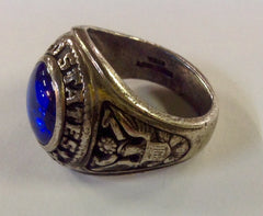 Vintage Sterling Silver United States Army Ring with Blue Stone