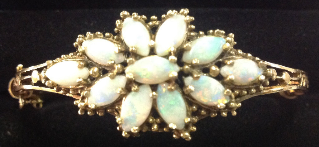 Vintage Yellow Gold and Opal Bangle Bracelet