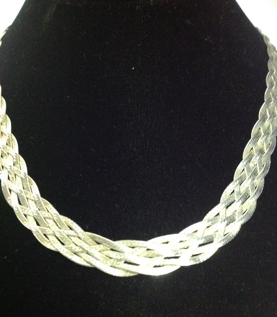 Vintage Sterling Silver Weaved/Braided Necklace