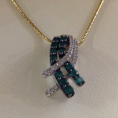 Emerald and Diamond Criss-Cross Pendant with 14K Yellow Gold Chain