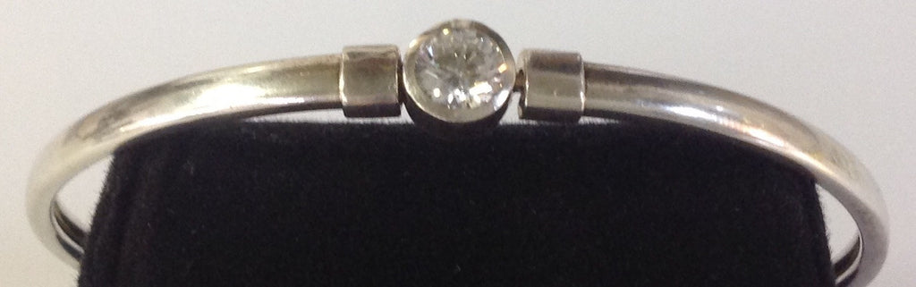 Vintage Sterling Silver Bangle with Large Circular CZ