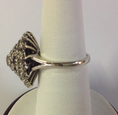 Vintage 14K White Gold Cocktail Diamond Ring