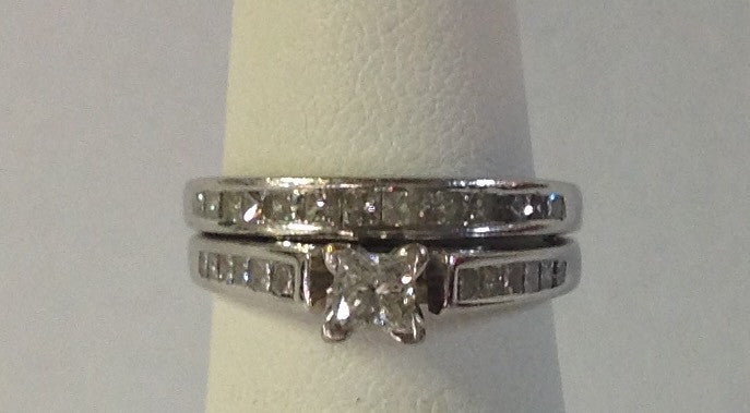 Handcrafted Invisible Set Princess Cut Diamond Bridal Set in 14K White Gold