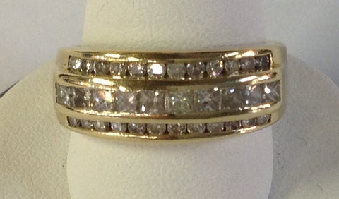 Men's Round and Princess Cut Diamond Band Set in 14K Yellow Gold