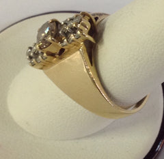 Classic 14K Yellow Gold Ring with Champagne and White Diamonds