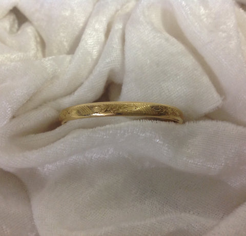 Vintage Gold Filled Baby Bangle with Fleur di lis Etching