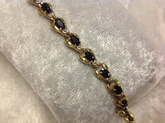 Blue Sapphire and Diamond Tennis Bracelet in 10K Yellow Gold