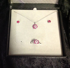 Ruby and White Sapphire Floral Shaped Jewelry Set
