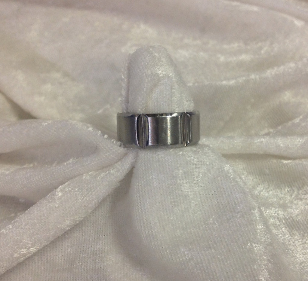 MENS 10mm Stainless Steel Ring with Beveled Edeges
