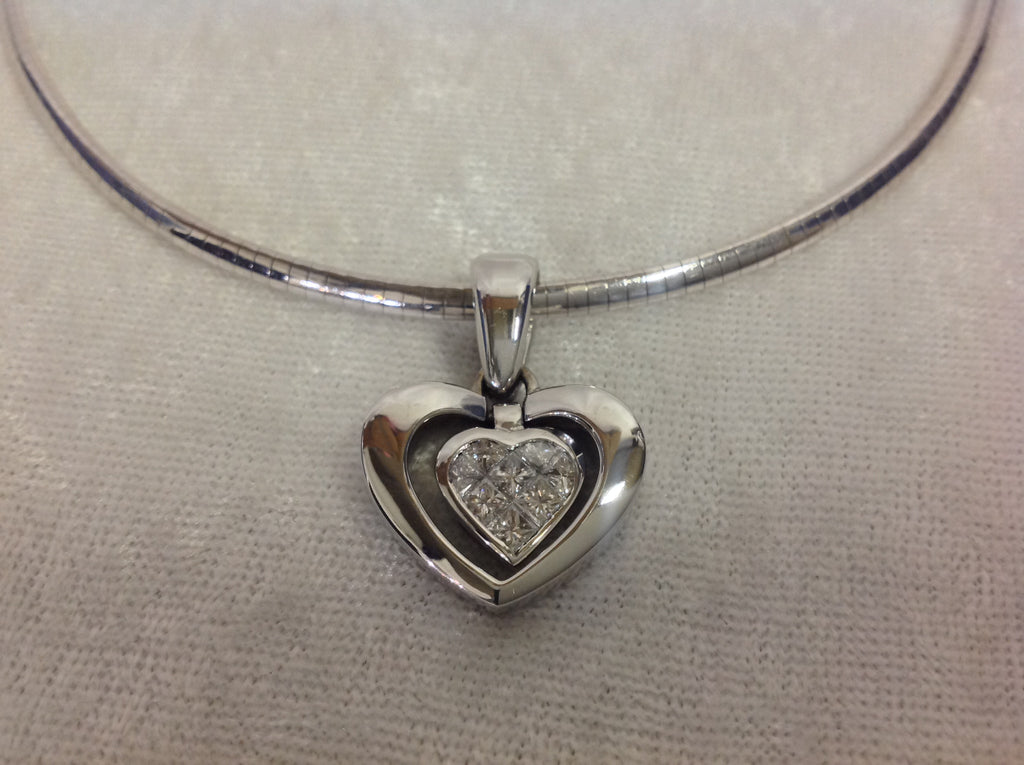 14k white gold diamond heart pendant with omega style chain golden 14k white gold diamond heart pendant with omega style chain aloadofball Choice Image