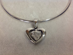14K White Gold Diamond Heart Pendant with Omega Style Chain