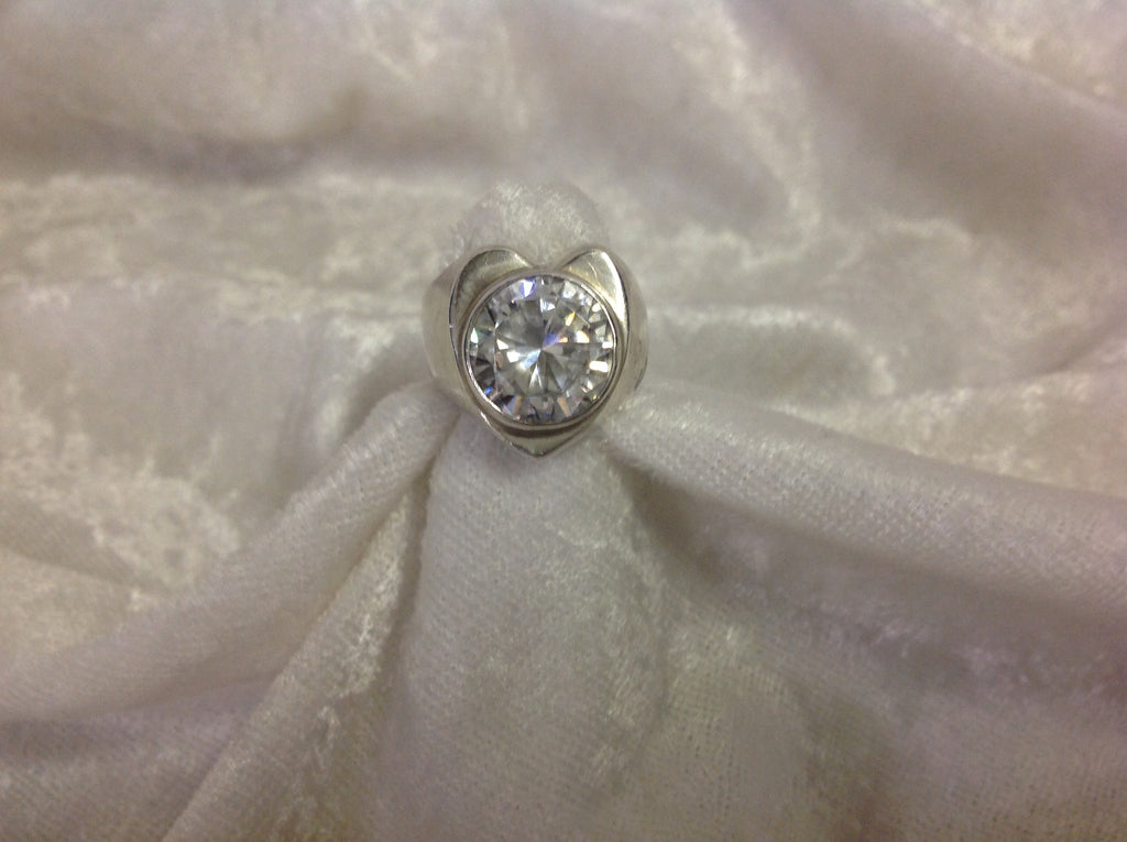 Sterling Silver Heart Shaped Ring with Large Round Crystal