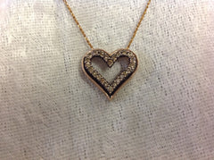 Chocolate Diamond Heart Pendant in Rose Gold with Necklace