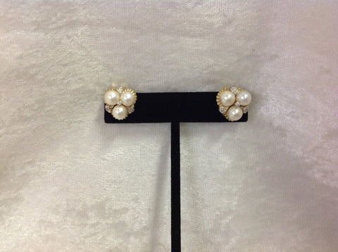 Diamond and Pearl Leverback Earrings in 14K Gold