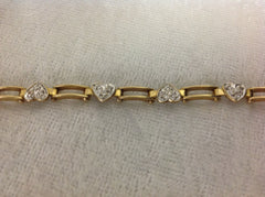 10k Gold and Diamond Heart Bracelet
