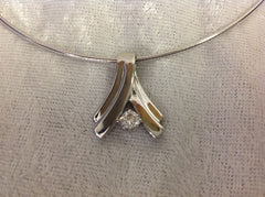 14k White Gold Diamond Pendant with Omega Necklace