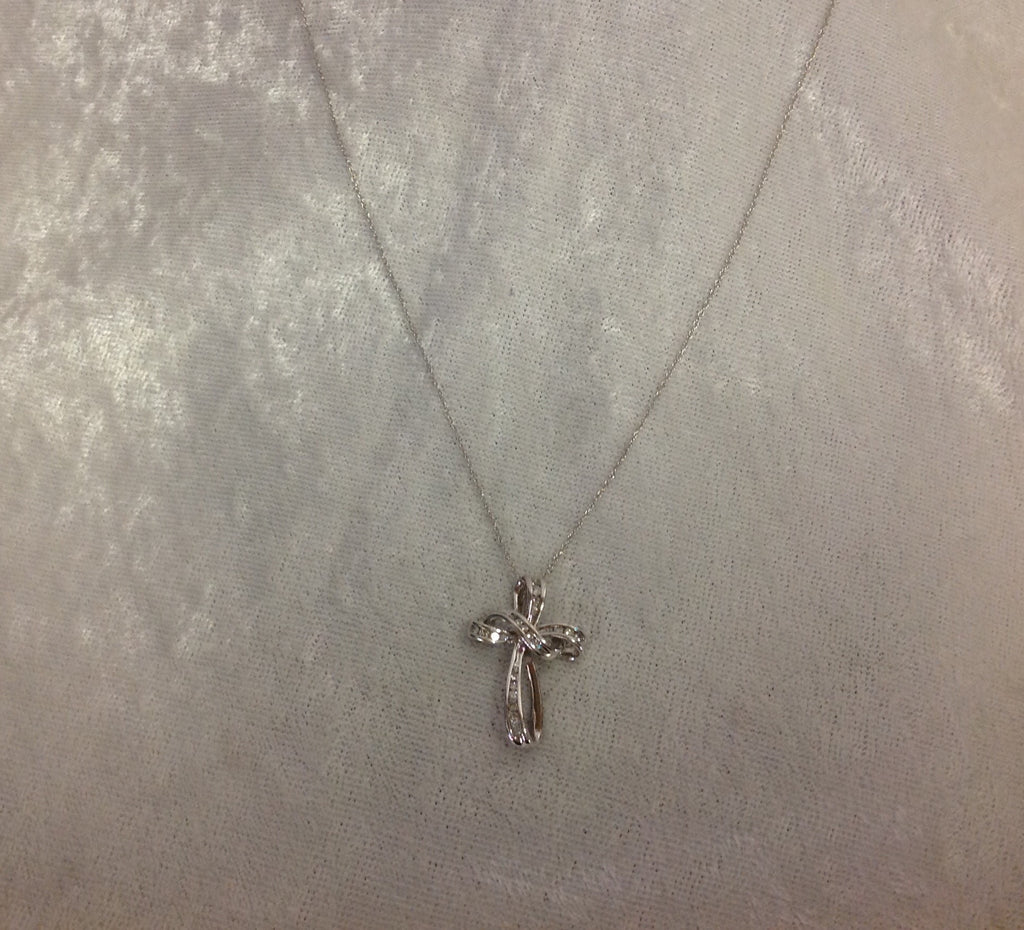 Diamond Cross Necklace in 14k White Gold