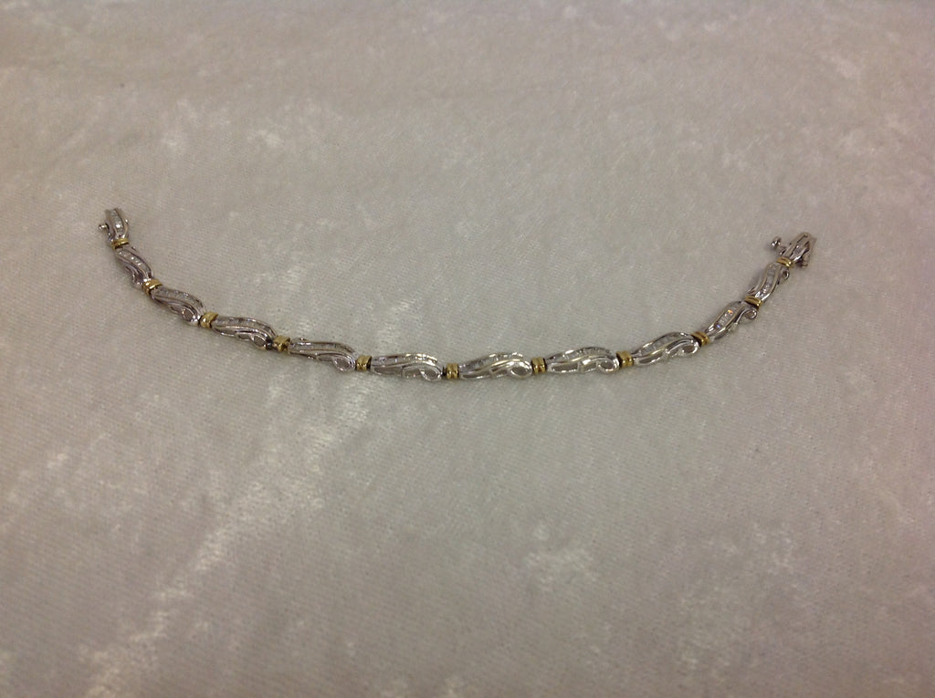 10k White Gold Baguette Diamond Bracelet – Golden Island Jewelry