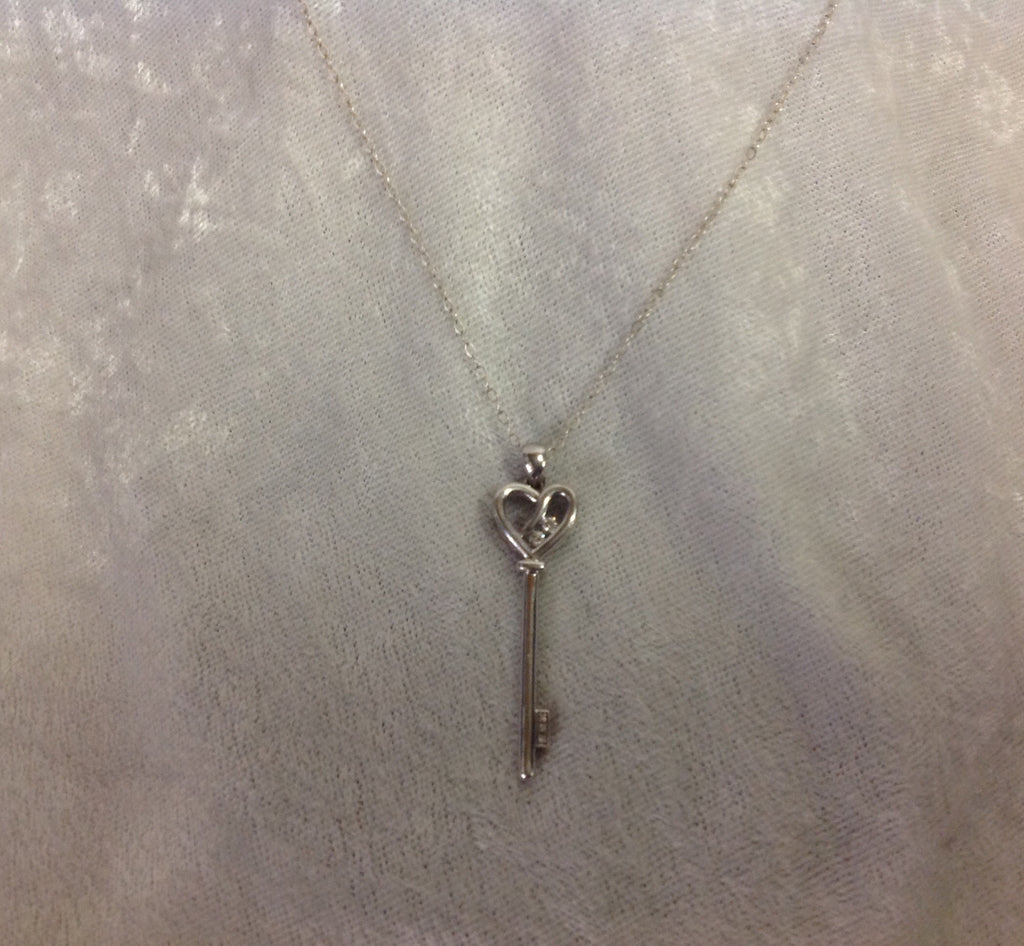 Diamond Key Pendant with Necklace in Sterling Silver