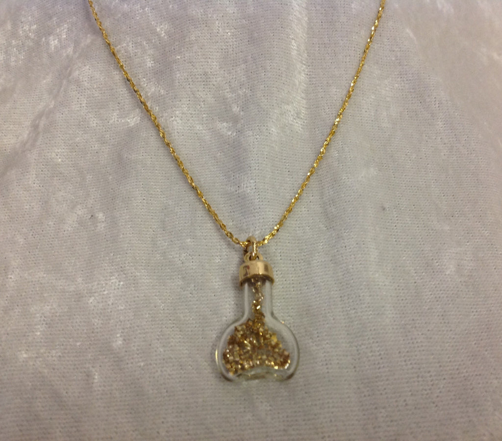 Vintage 14k Gold & Glass Charm with Metal Flakes Inside